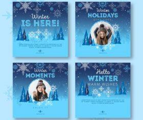 Winter beautiful card set vector