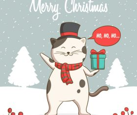 Winter outdoor cat christmas card vector
