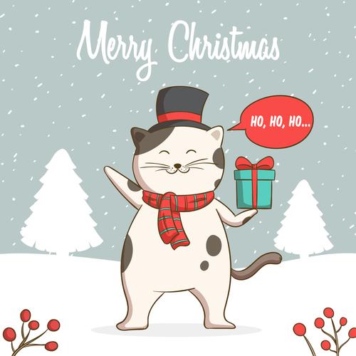 Winter outdoor cat christmas card vector