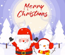 Winter outdoor santa and snowman vector