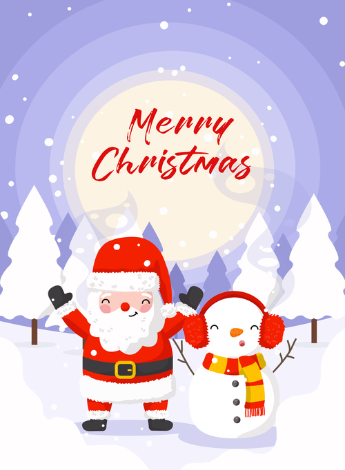 Winter outdoor santa and snowman vector