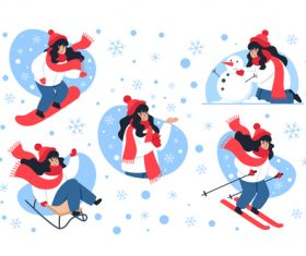 Winter skiing girl illustration vector