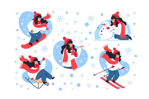 Winter skiing girl illustration vector