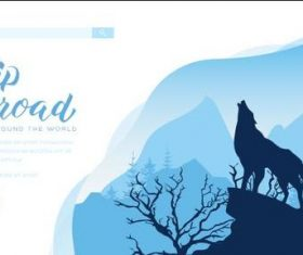 Wolf howling silhouette illustration vector