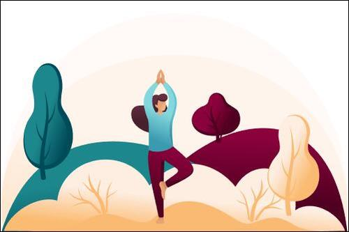 Woman doing yoga in park vector