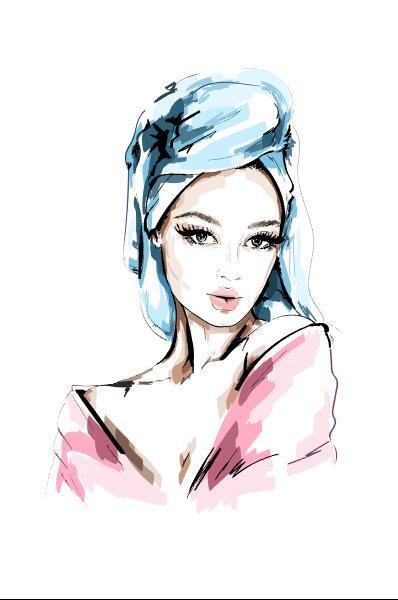 Woman going out of bath watercolor illustration vector