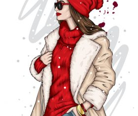 Woman in red sweater and red hat vector