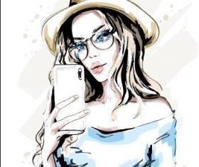 Woman playing mobile phone watercolor illustration vector