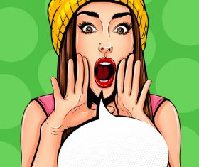 Woman shouting pop art illustration vector