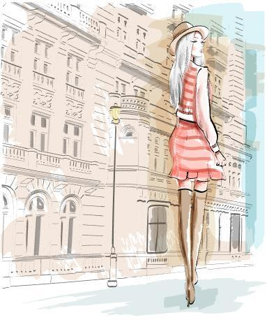 Woman turning around watercolor illustration vector