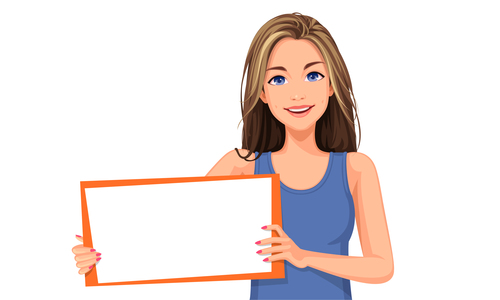 Woman vector holding a white board