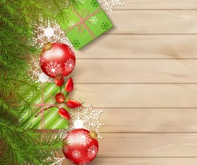 Wooden wall background Christmas exquisite greeting card vector