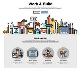 Work build flat graphic concept vector