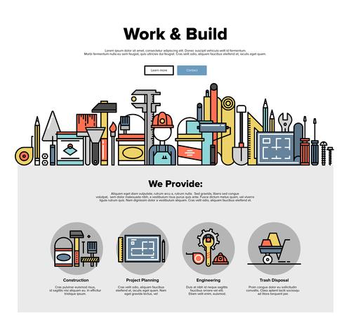 Work build flat graphic concept vector