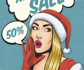 XMAS girl salesperson pop art illustration vector