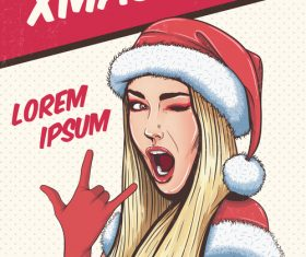 XMAS sales pop art illustration vector