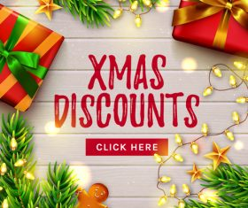 Xmas discounts flyer vector