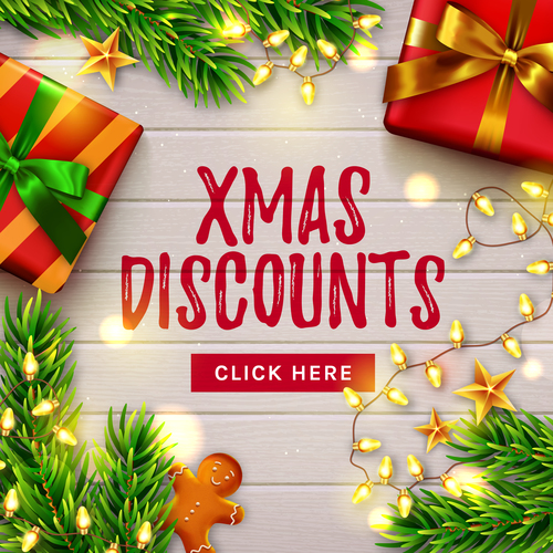 Xmas discounts flyer vector