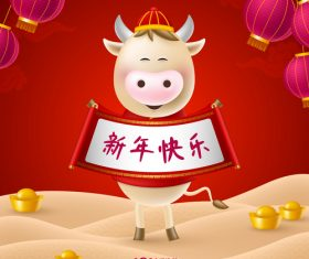 Year of the ox 2021 greeting card vector