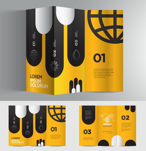 Yellow black 3d brochure vector