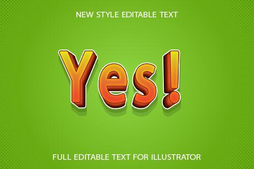 Yes 3d text effect vector