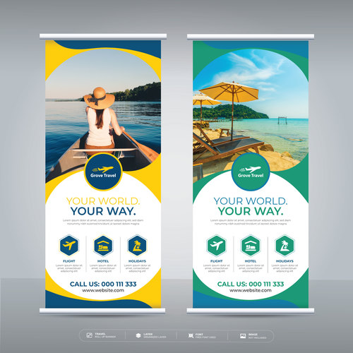 Your world travel flyer vector