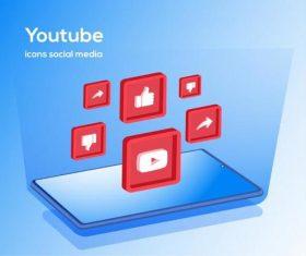 Youtube icons social media vector