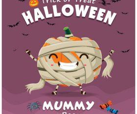 Zombie pumpkin halloween poster design vector