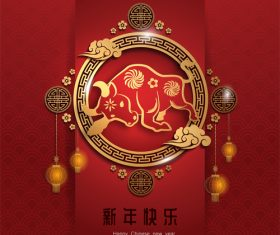 2021 happy chinese new year vector