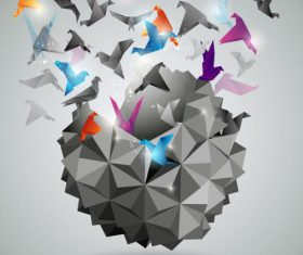 3D flying paper cranes background vector