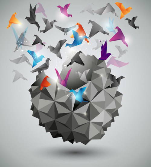 3D flying paper cranes background vector