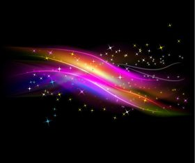 Abstract Glowing Light with Stars Vector Background