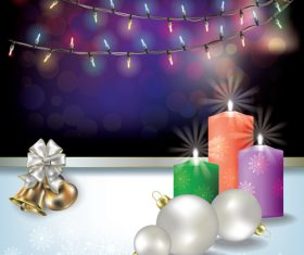 Abstract background with Christmas lights candles and decoration vector