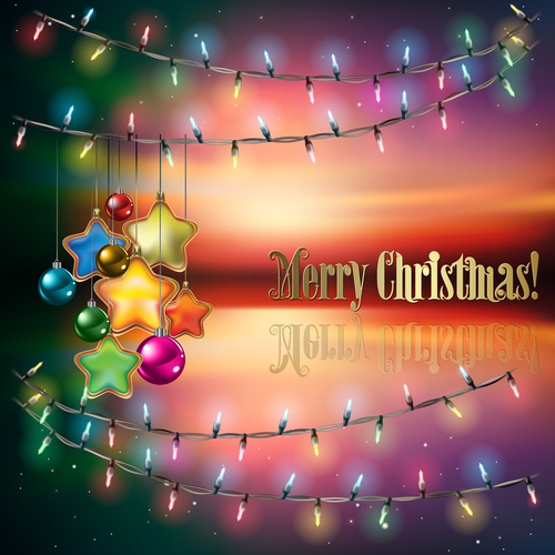 Abstract background with Christmas lights decorations and stars vector