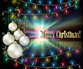 Abstract background with Christmas lights white decorations and stars vector