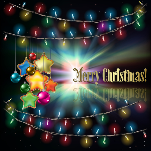 Abstract black background with Christmas lights decorations and stars vector