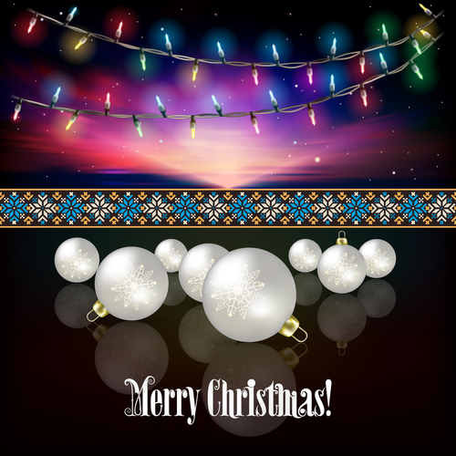 Abstract celebration background with Christmas lights and white decorations vector