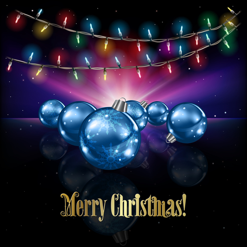 Abstract celebration background with Christmas lights decorations and stars vector