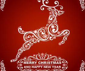 Abstract reindeer christmas greeting card vector
