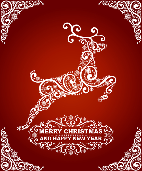 Abstract reindeer christmas greeting card vector