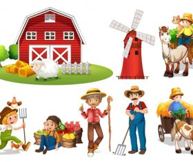 Agricultural products and farmer cartoon vector