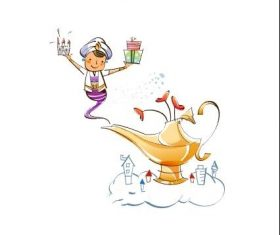 Aladdin magic lamp hand drawn illustration vector