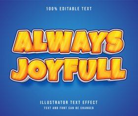 Always joyfull 3d editable text vector