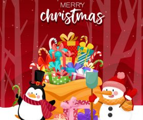 Animal and gift box background christmas card vector