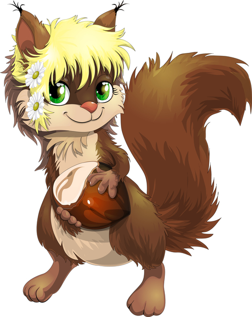 Animal cartoon vector holding hazelnut
