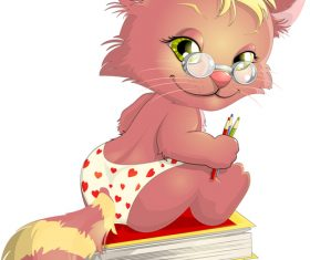 Animal cartoon vector sitting on books