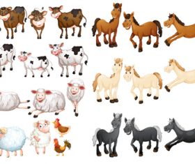 Animal collection cartoon vector