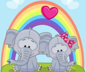 Animals under the rainbow vector