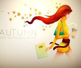 Autumn girl with coffee cartoon illustration vector