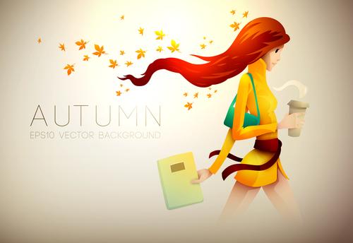 Autumn girl with coffee cartoon illustration vector